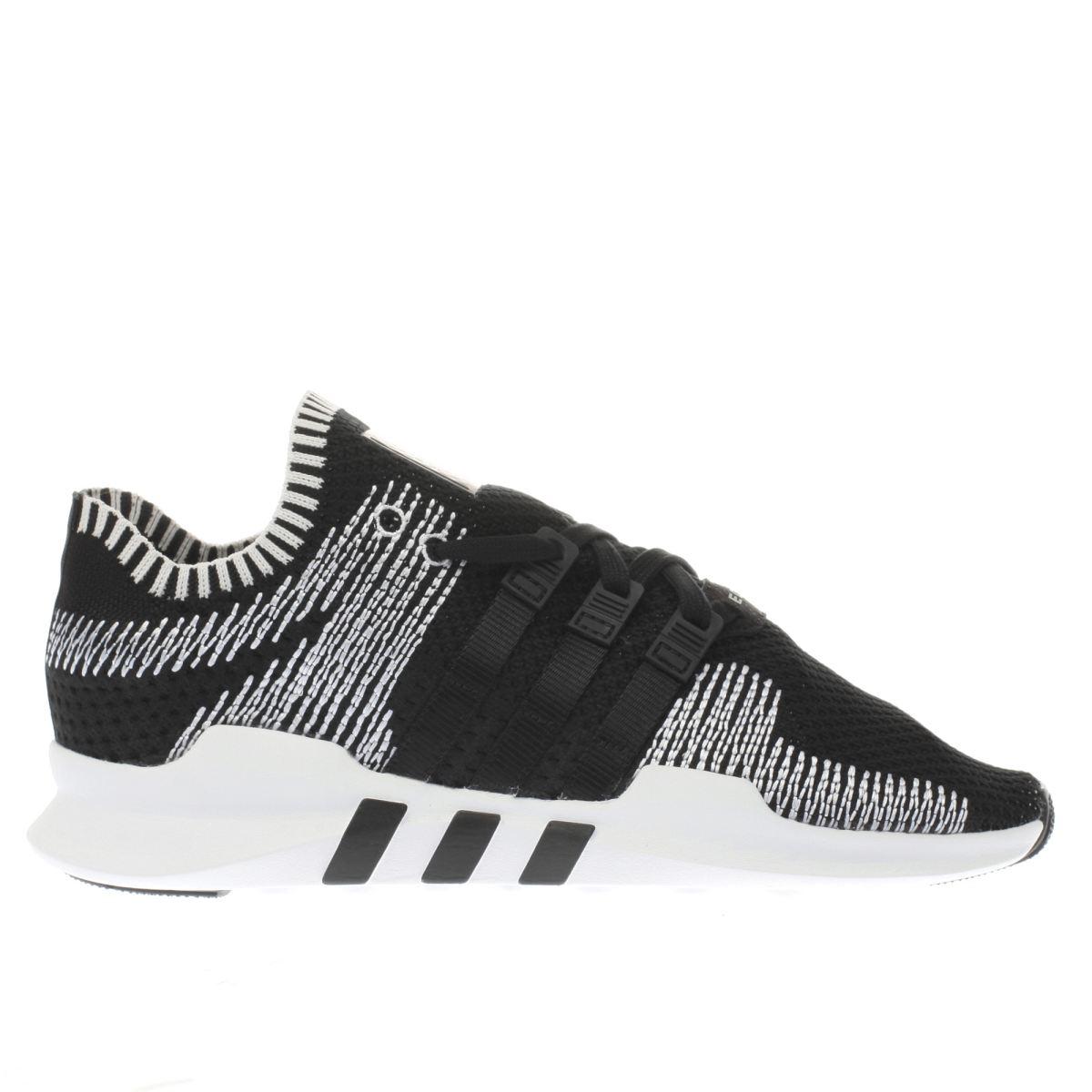adidas black & white eqt support adv primeknit trainers