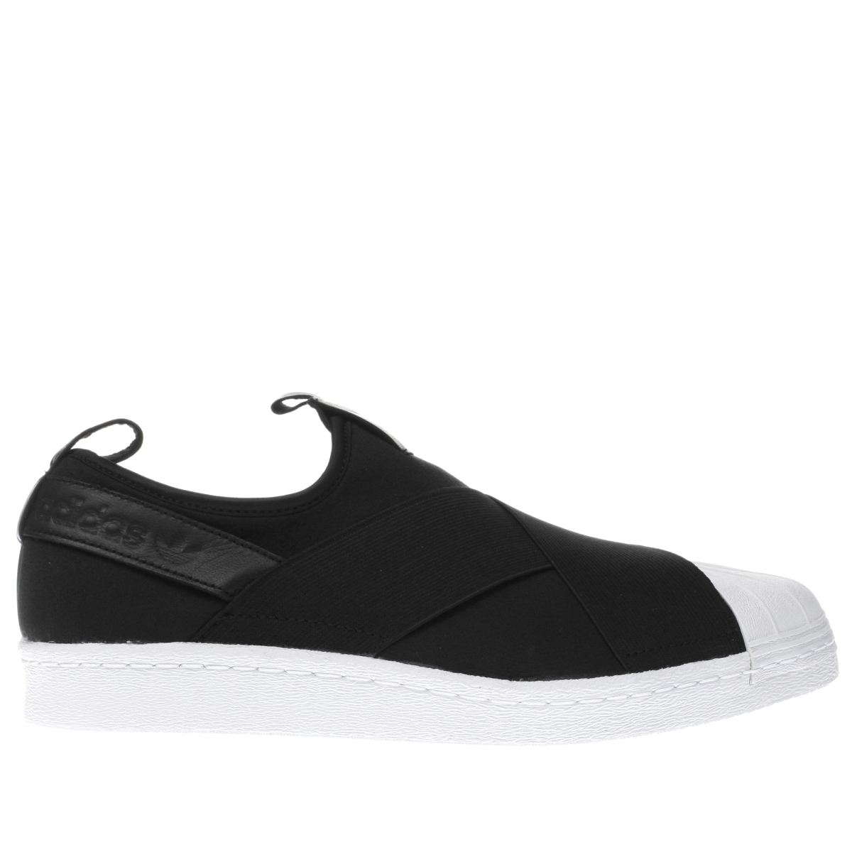 adidas black superstar slip-on trainers