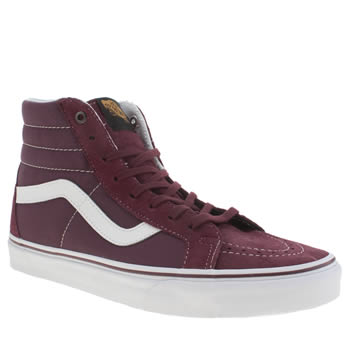 Mens Vans Burgundy Sk8 Hi Reissue Trainers