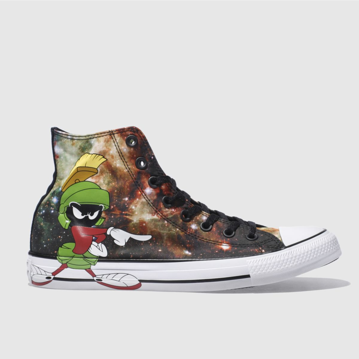 converse black looney tunes marvin hi trainers