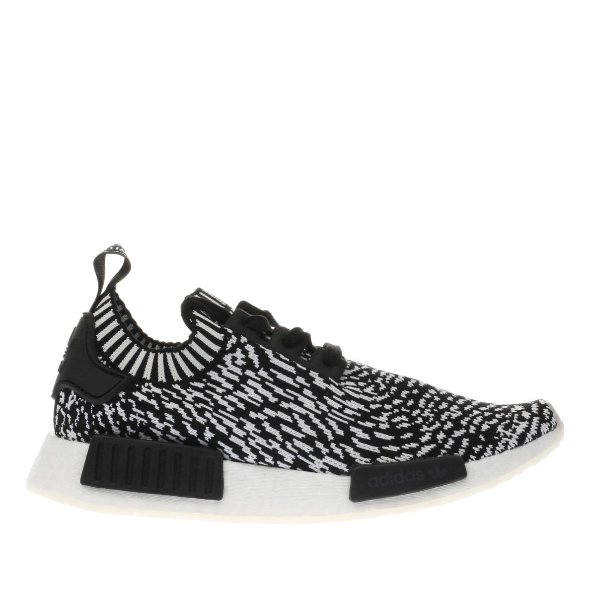 adidas black & white nmd_r1 prime knit trainers