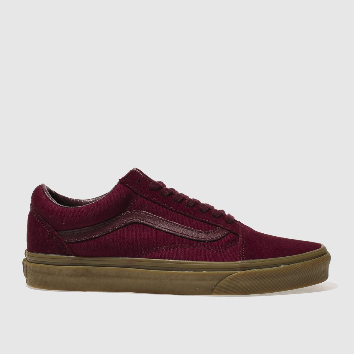 vans burgundy old skool light gum trainers