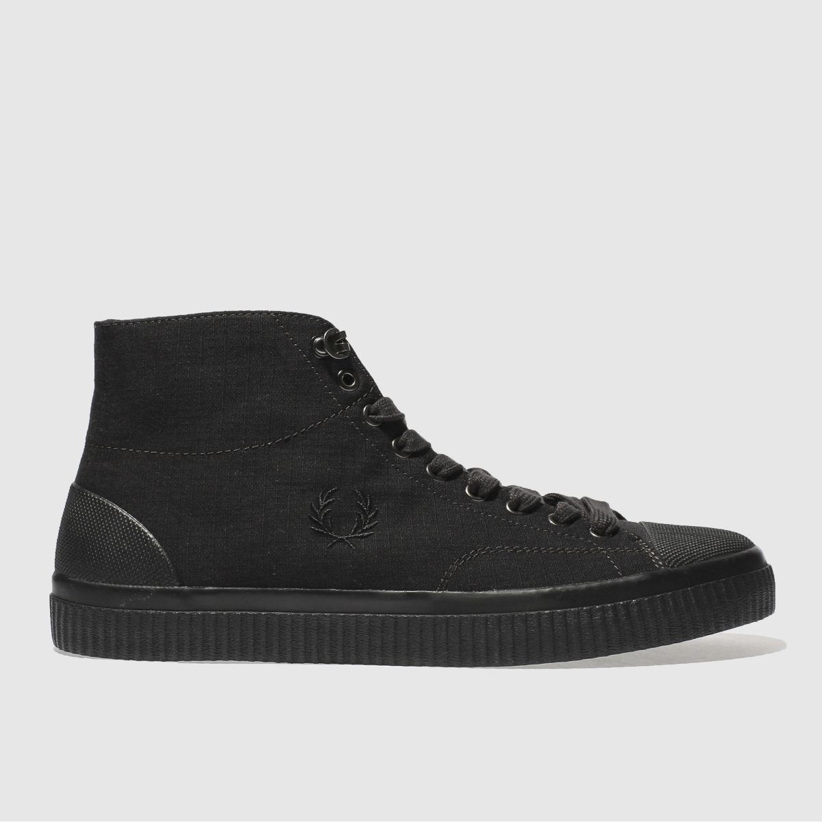 fred perry black hughes mid trainers