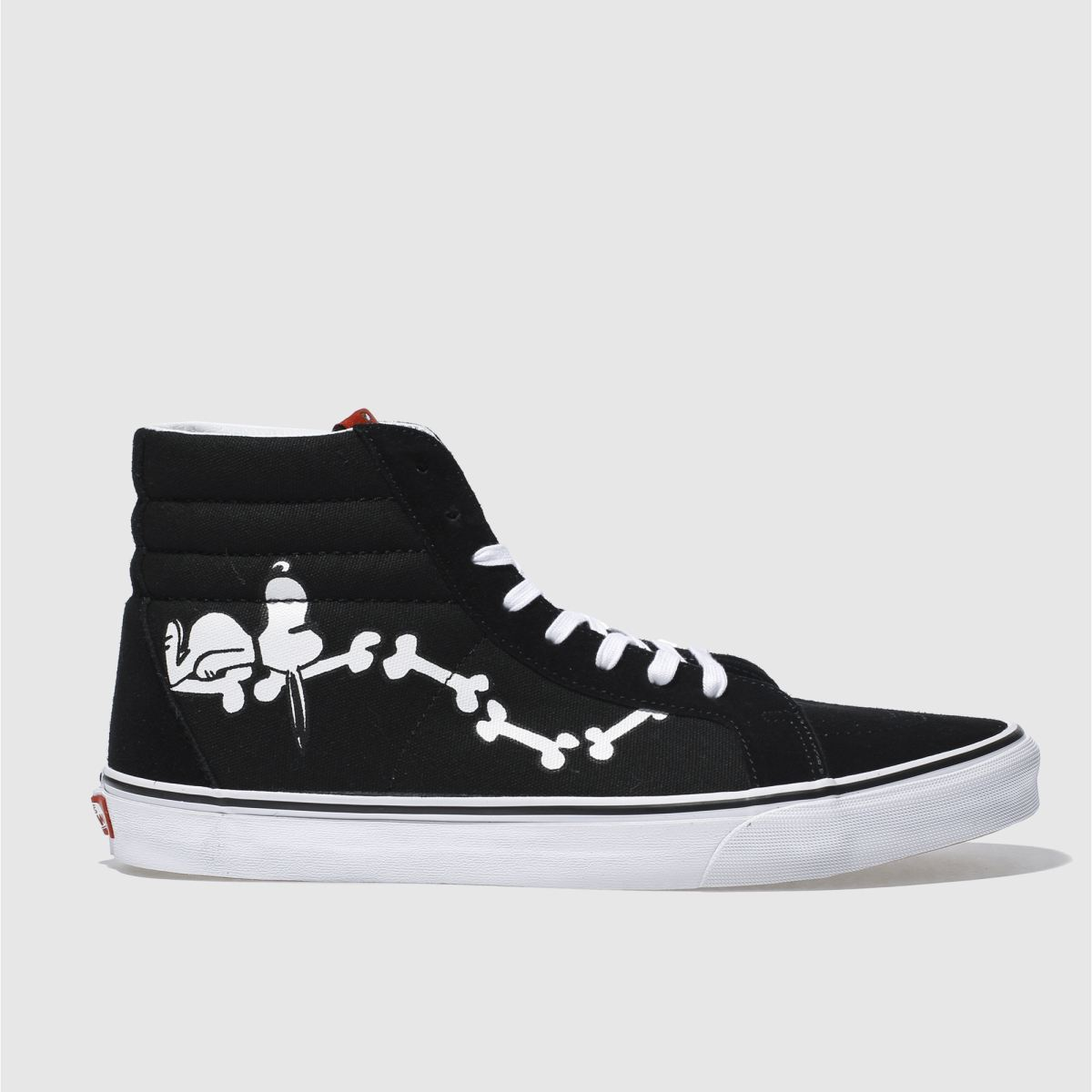 vans black & white sk8-hi peanuts snoopy bones trainers