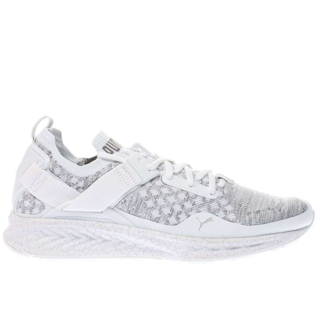 puma white & grey ignite limitless evoknit trainers
