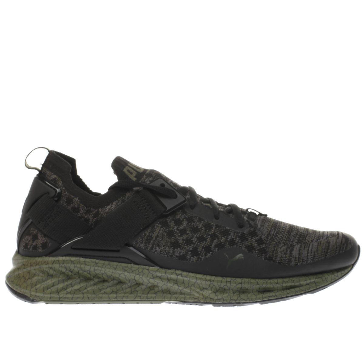 puma black & green ignite limitless evoknit trainers
