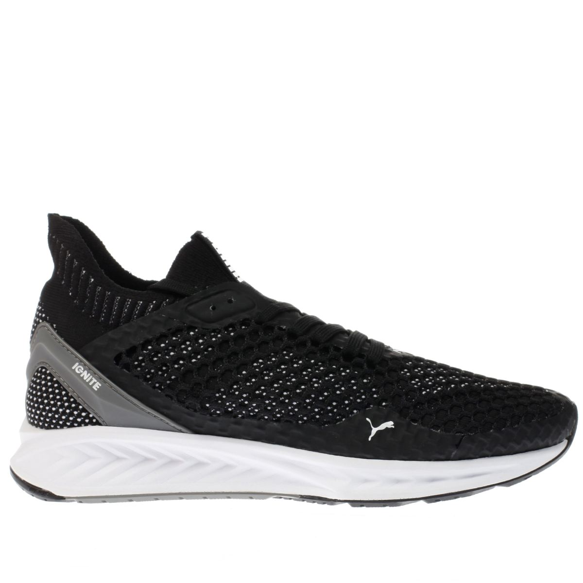 puma black & white ignite netfit trainers