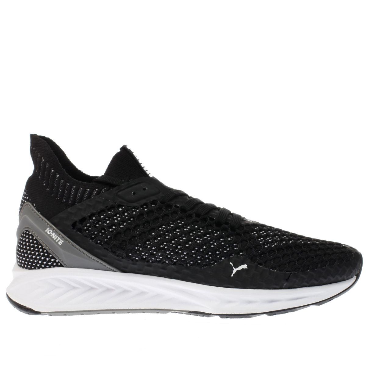 puma black & white ignite netfit trainers