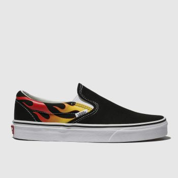 Vans Black Classic Slip-On Flame Mens Trainers