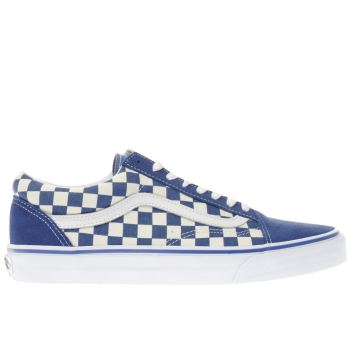 Vans Blue Old Skool Checkerboard Mens Trainers
