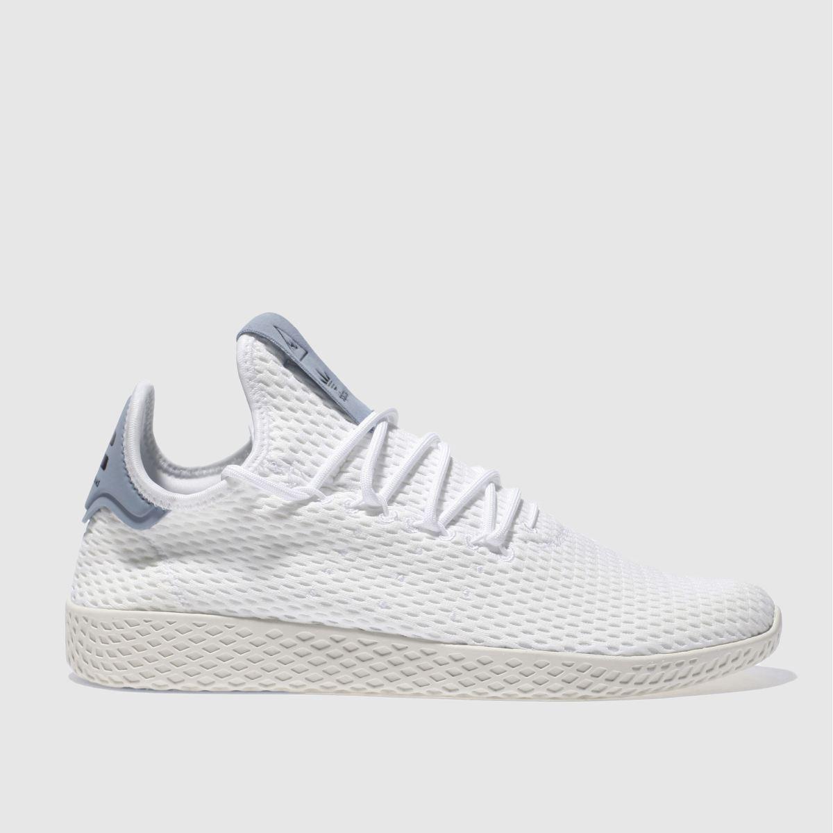 adidas white & blue pharrell whilliams tennis hu trainers