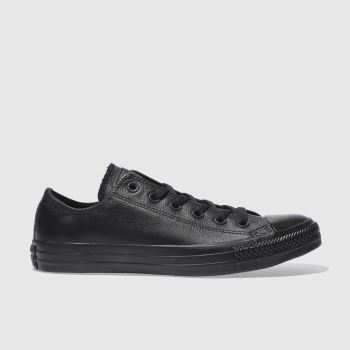 Converse Black All Star Leather Mono Ox Mens Trainers