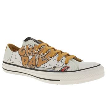 mens converse white & yellow all star green day trainers