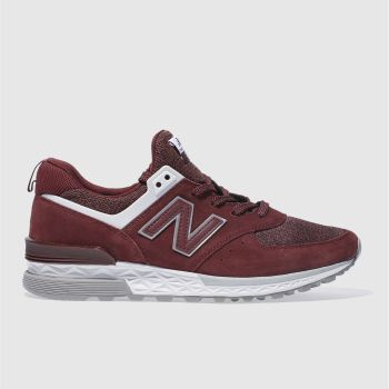 New Balance Burgundy 574 Sport Mens Trainers