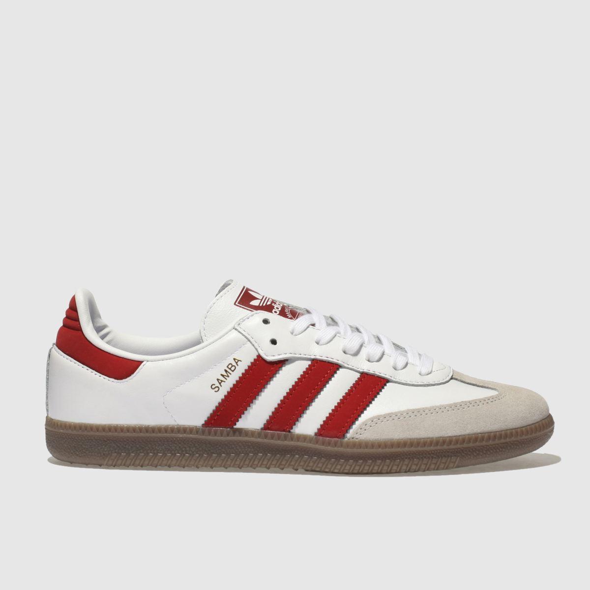 Adidas White & Red Samba Og Trainers