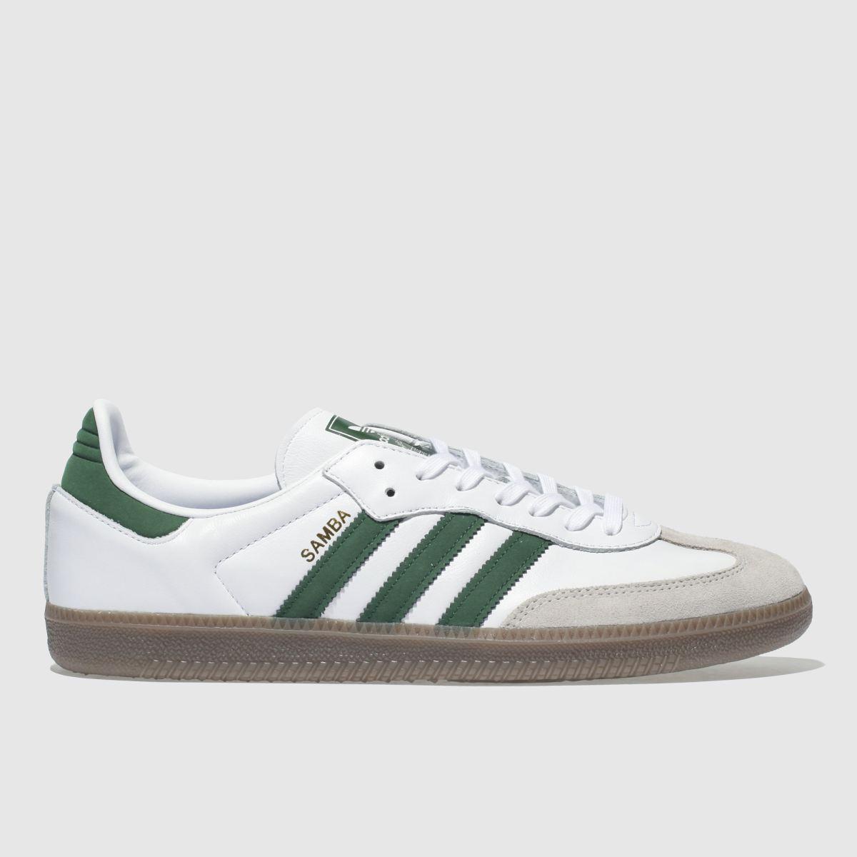 Adidas White & Green Samba Og Trainers