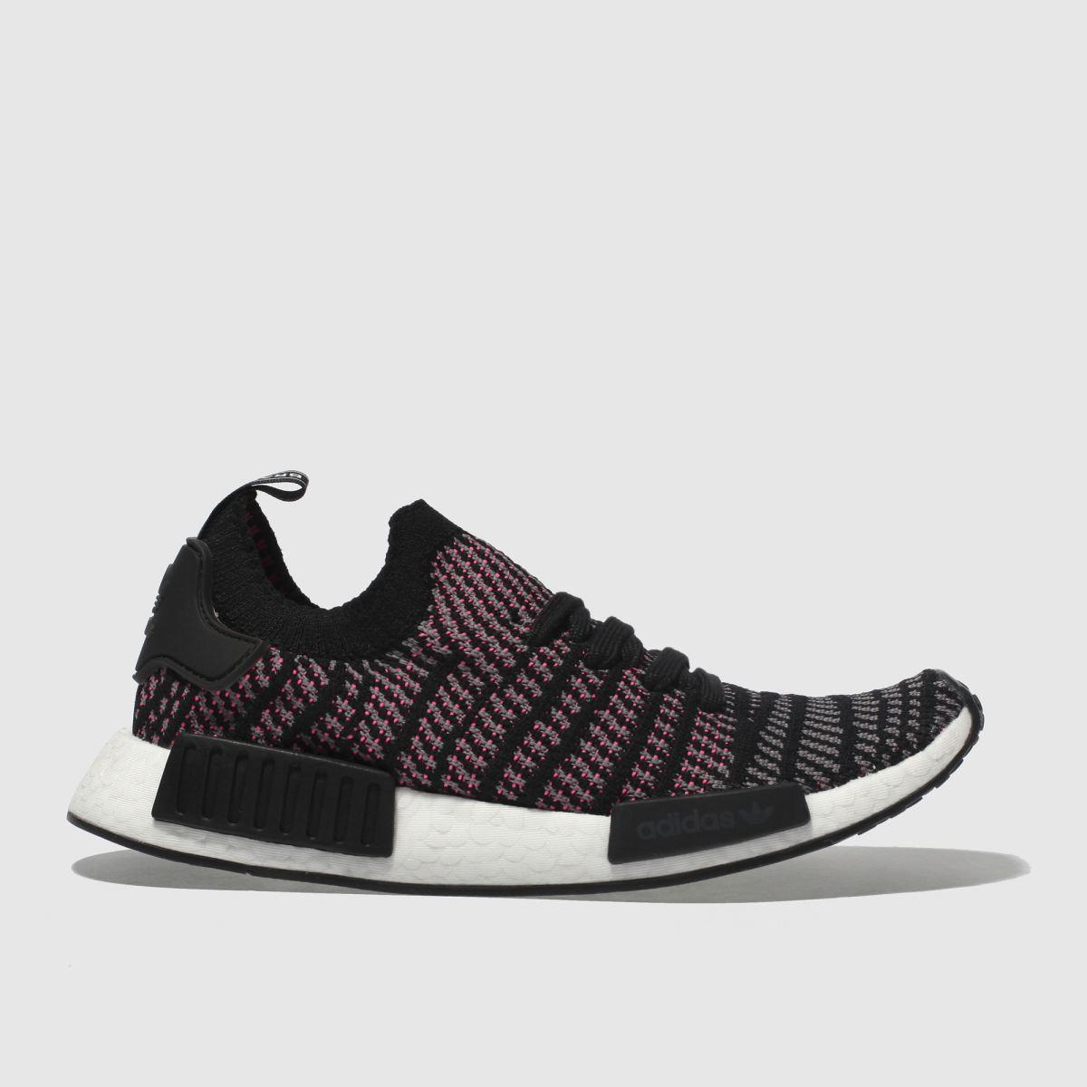 Adidas Grey & Black Nmd_r1 Stlt Primeknit Trainers