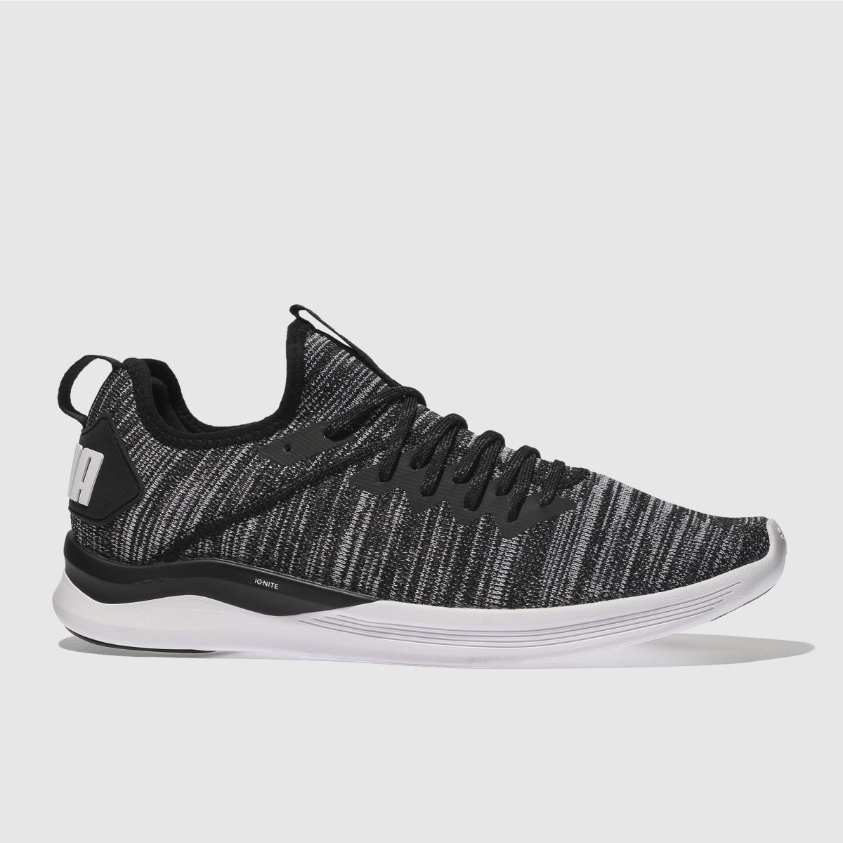 Puma Black & White Ignite Flash Evoknit Trainers