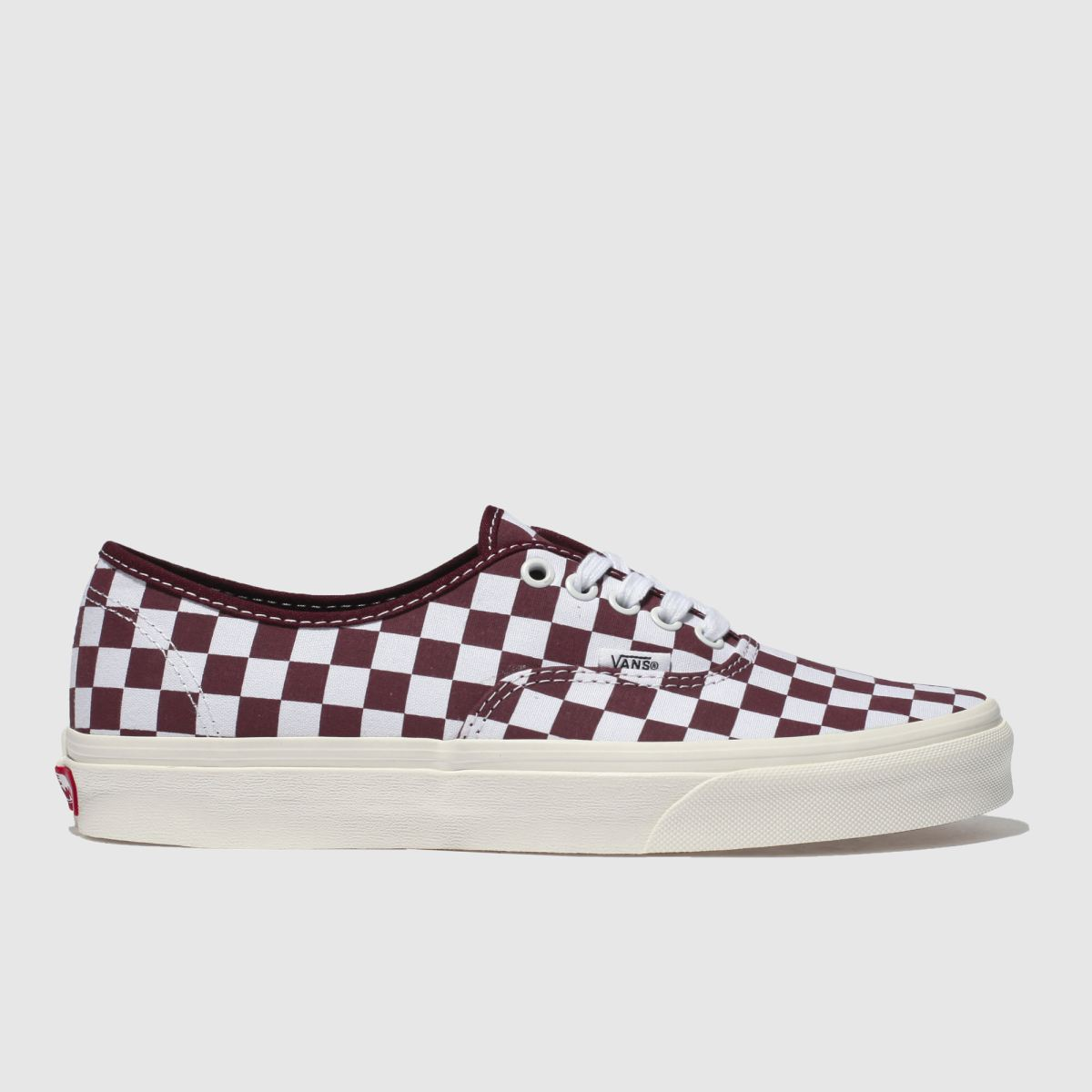 Vans White & Burgundy Authentic Trainers