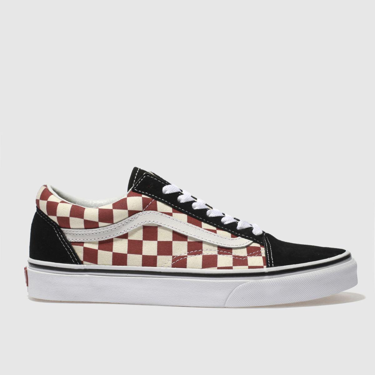 Vans White & Red Old Skool Checkerboard Trainers