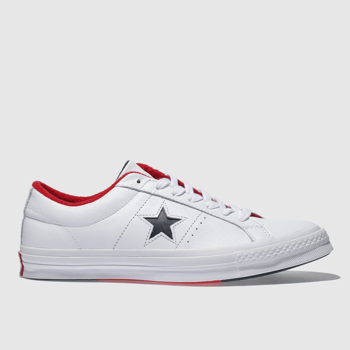 Converse White & Navy One Star Ox Trainers