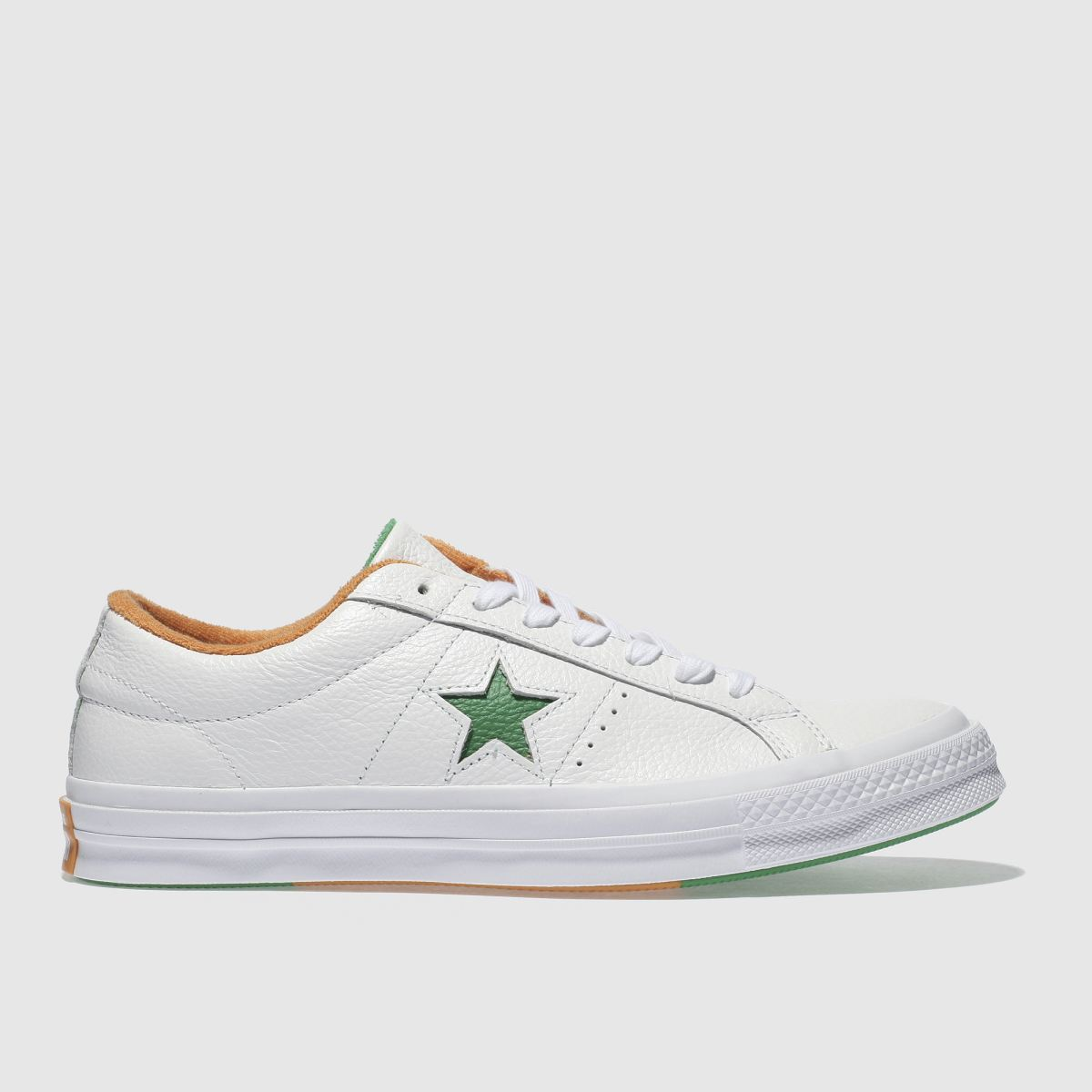 Converse White & Green One Star Ox Trainers