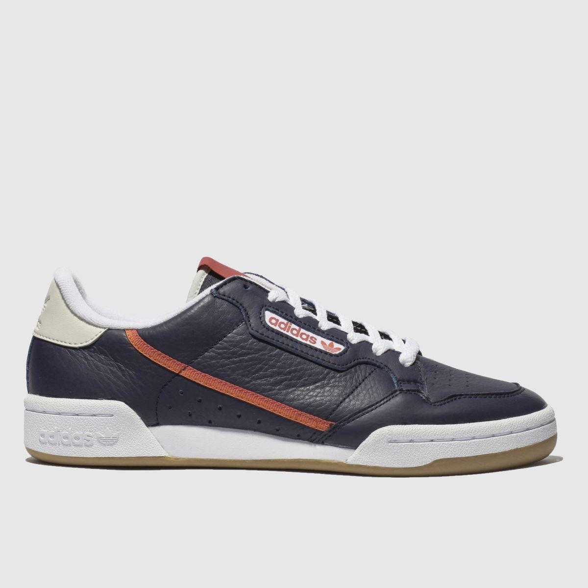 Adidas Navy & Orange Continental 80 Trainers