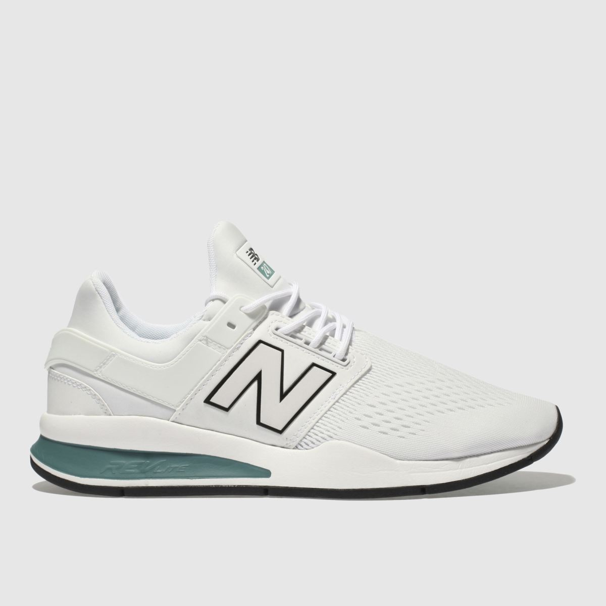 New Balance White & Green 247 V2 Trainers