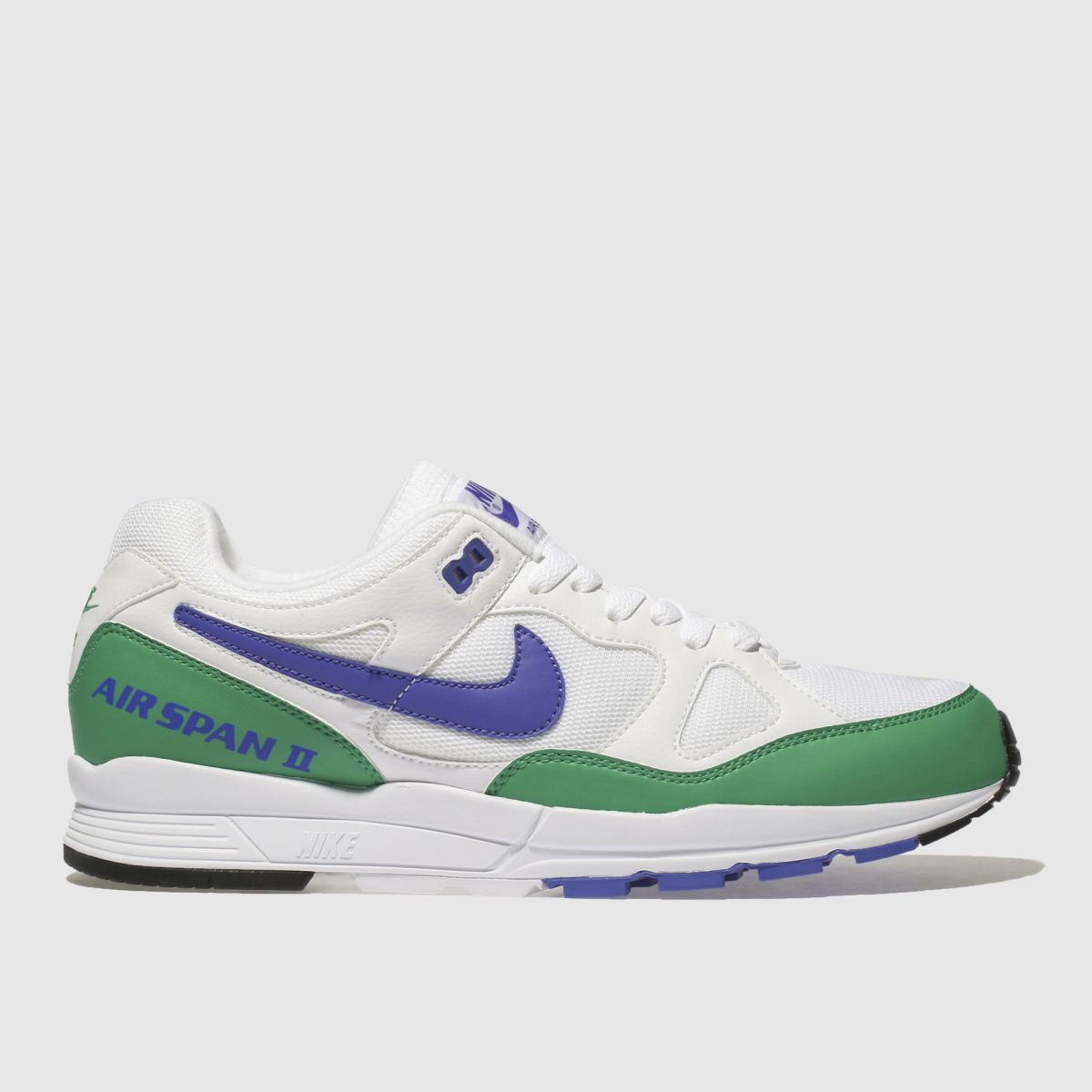 Nike White & Green Air Span Ii Trainers