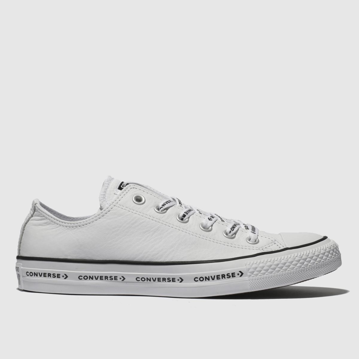 Converse White & Black All Star Ox Logo Laces Trainers