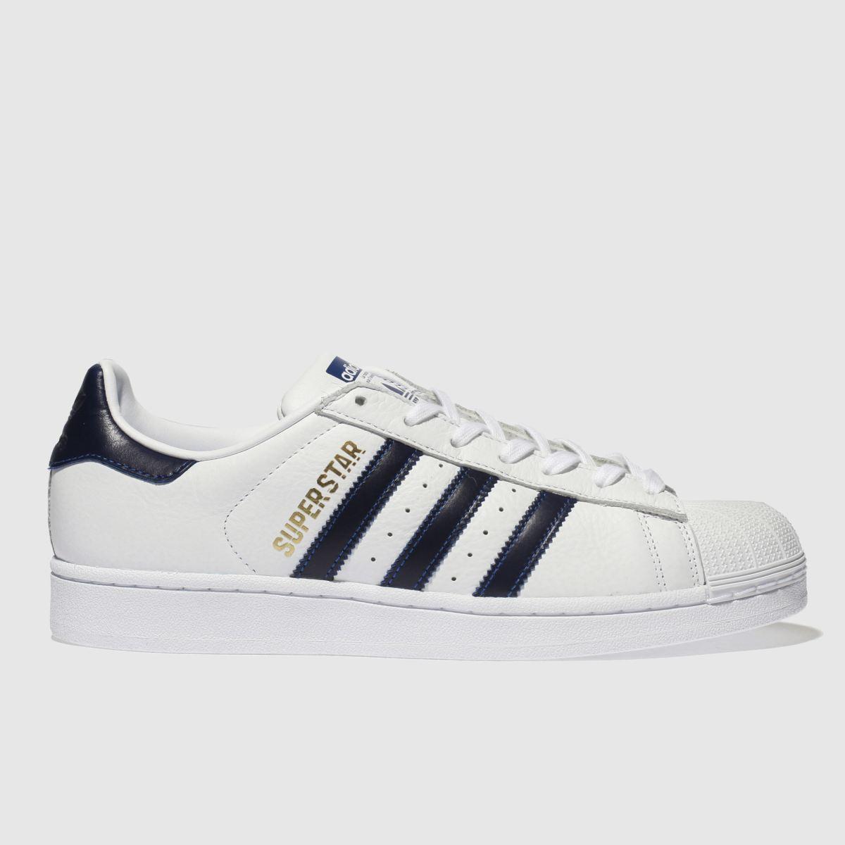 Adidas White & Navy Superstar Trainers