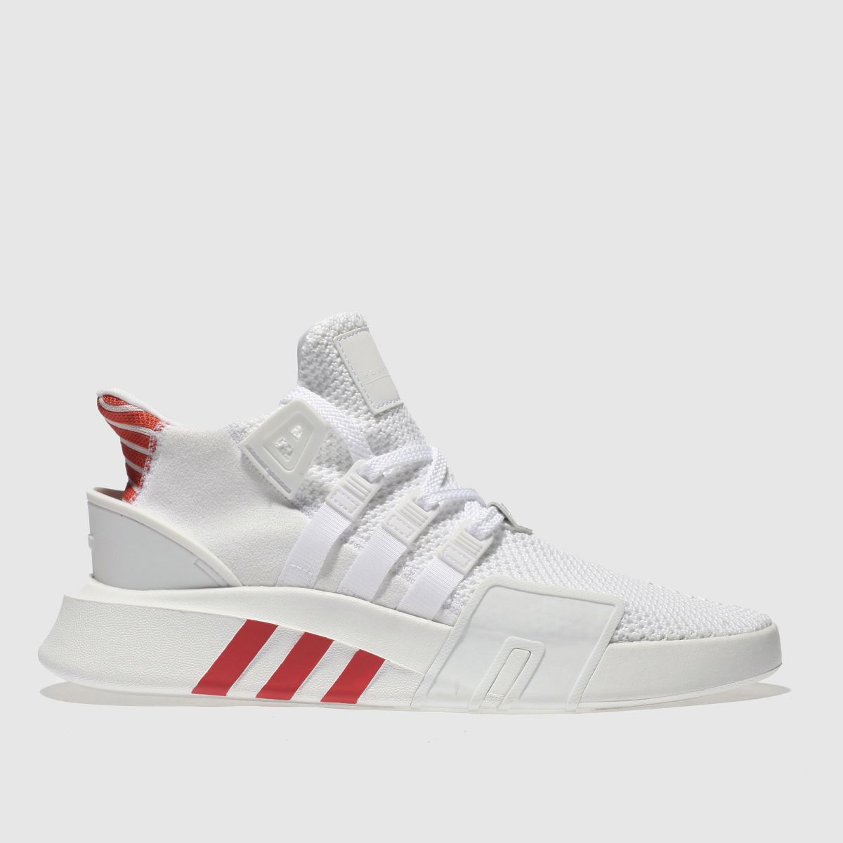 Adidas White & Red Eqt Basketball Adv Trainers