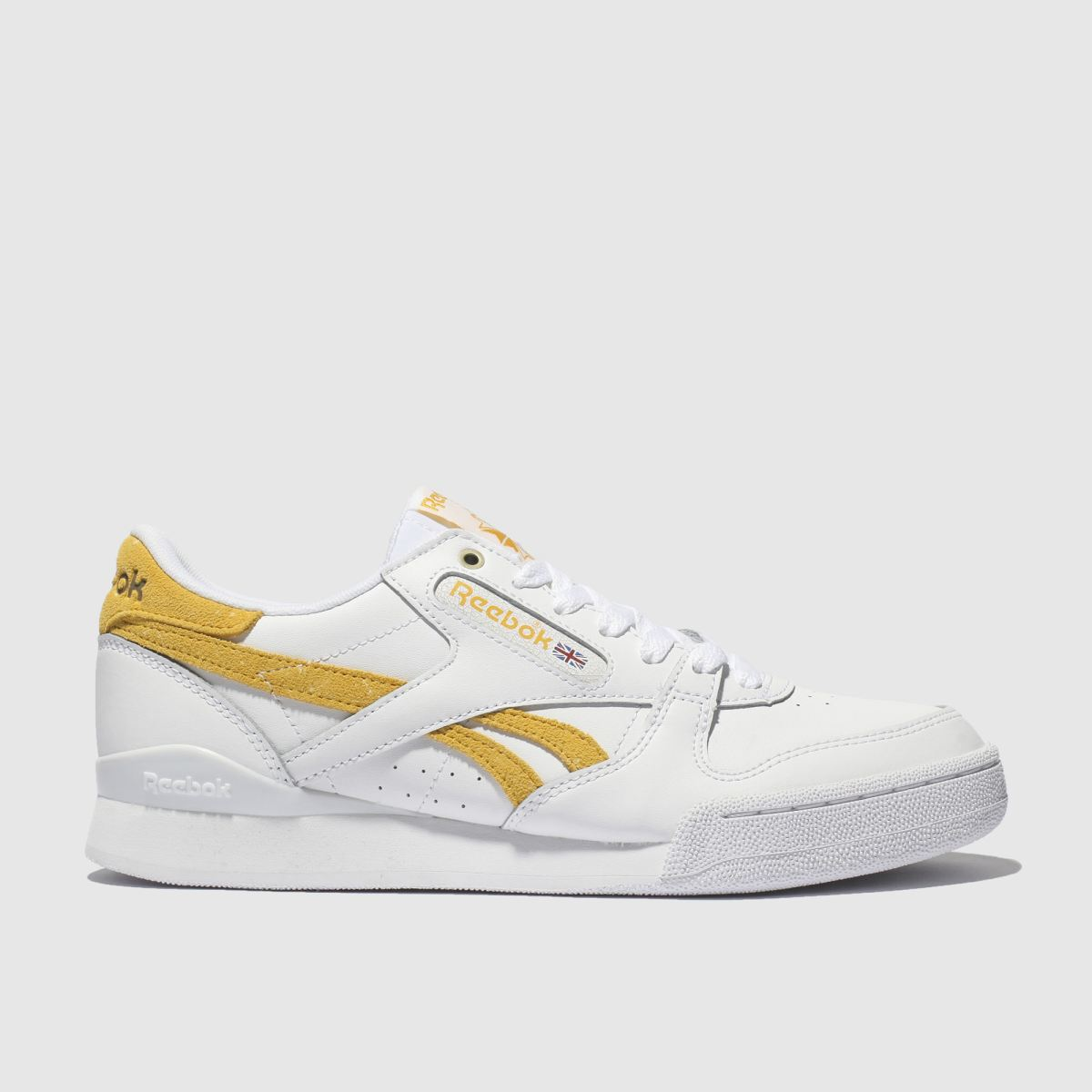 Reebok White & Yellow Phase 1 Pro Trainers