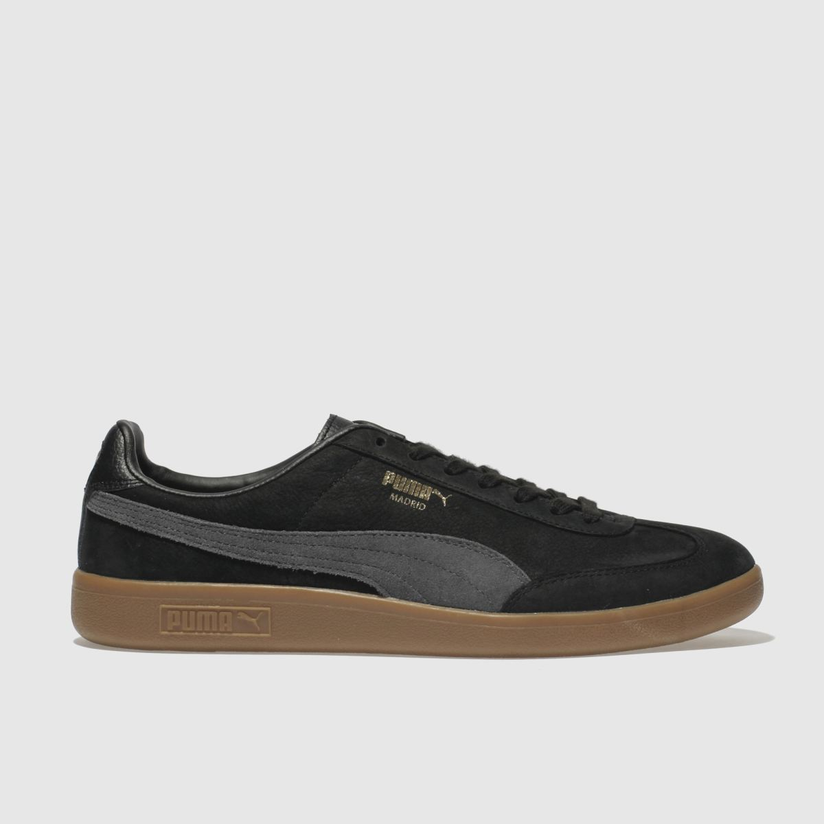 Puma Black & Grey Madrid Nubuck Trainers