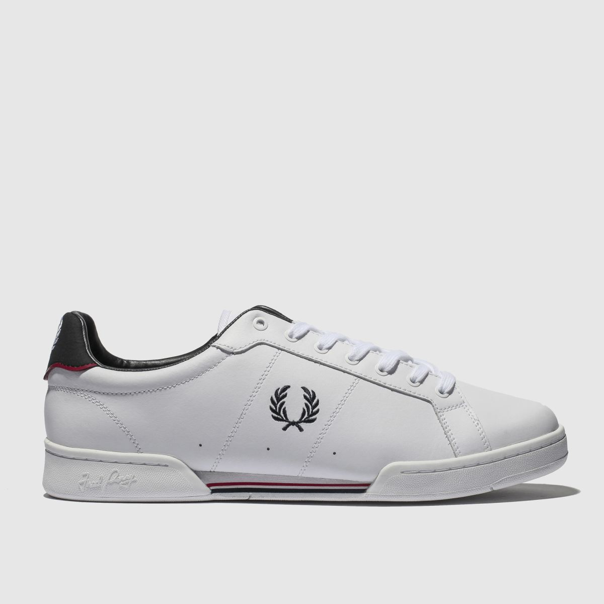 Fred Perry White & Navy B7222 Leather Trainers