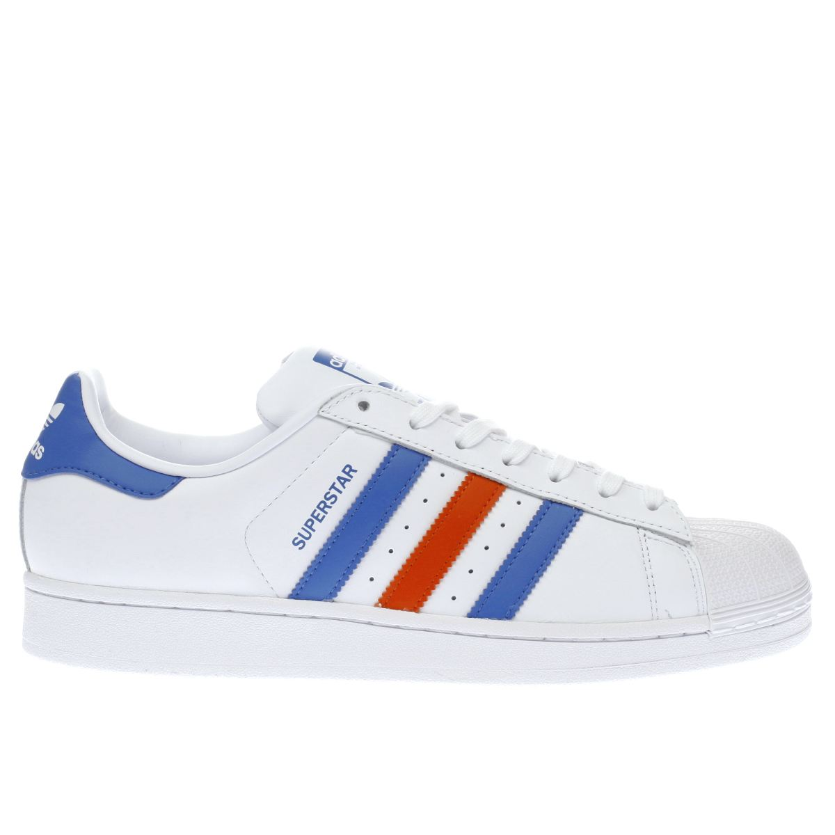 adidas white & blue superstar trainers