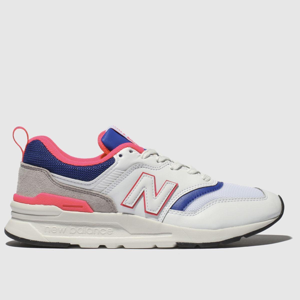 New Balance White & Blue 997 Trainers