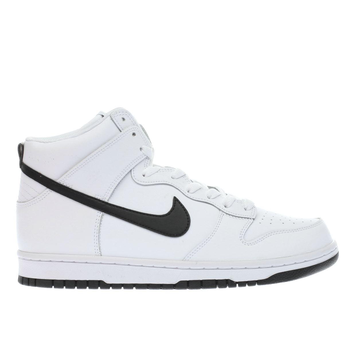 nike white & black dunk hi trainers