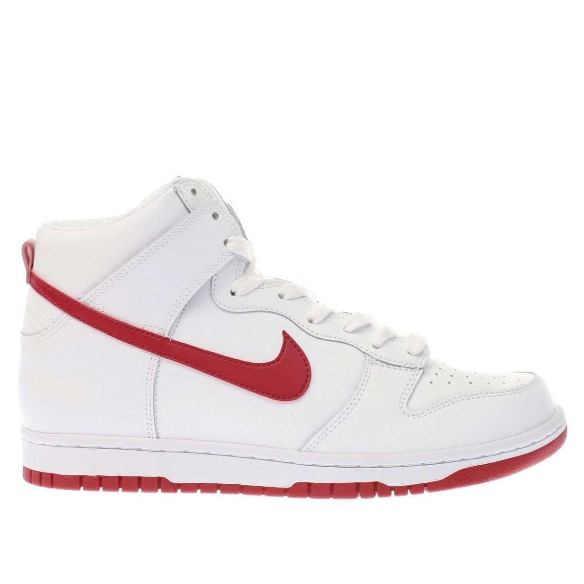 nike white & red dunk hi trainers