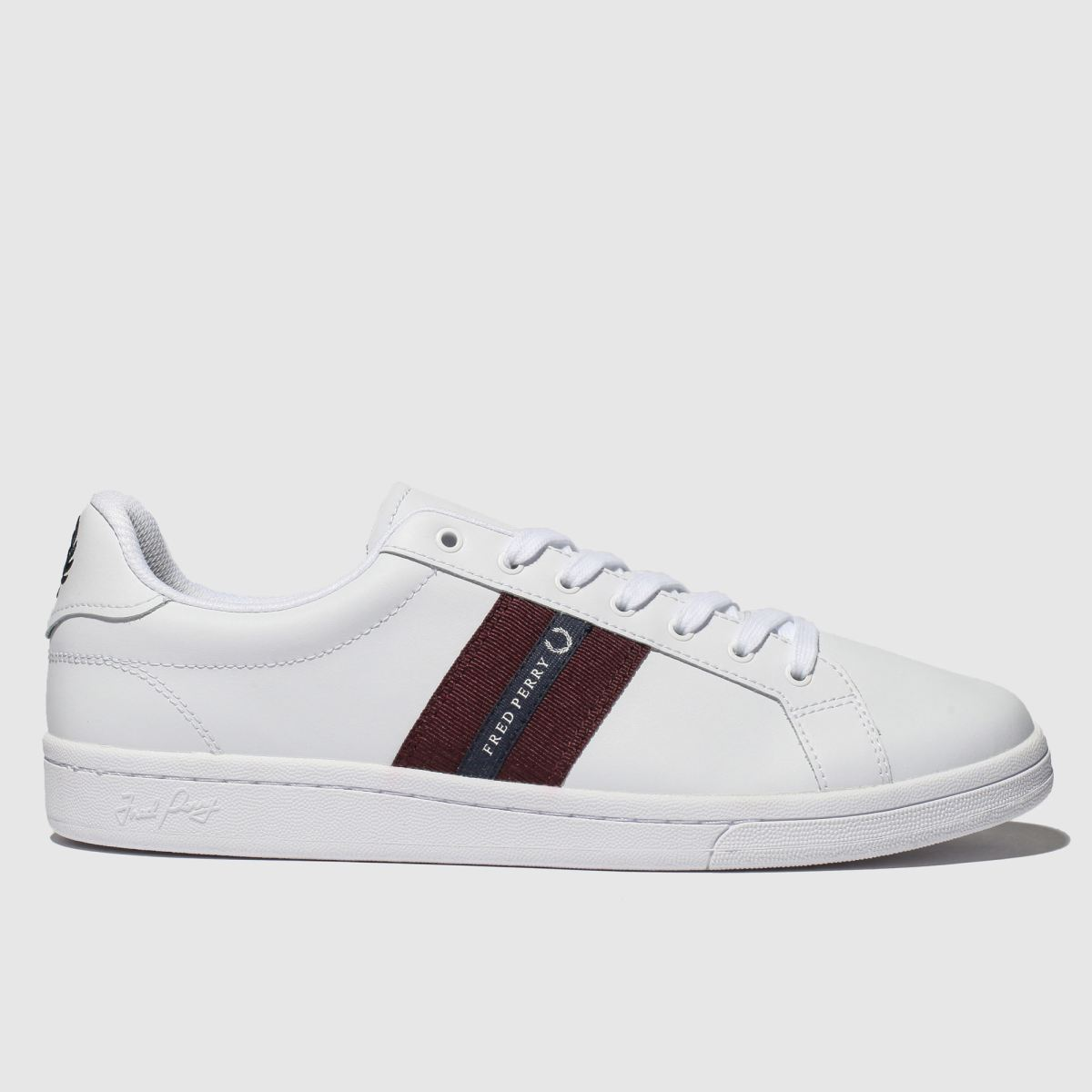 Fred Perry White B721 Leather Tape Trainers