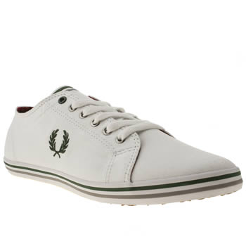 mens fred perry white & green kingston trainers