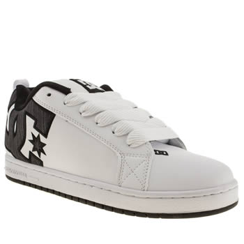 mens dc shoes white & black court graffik trainers