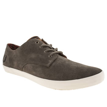 mens fred perry light grey foxx trainers