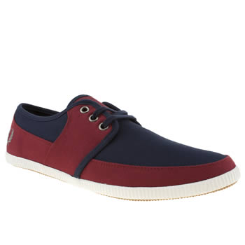 mens fred perry navy & red tonic canvas trainers
