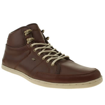 mens boxfresh brown swapp leather trainers