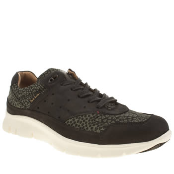 Mens Paul Smith Shoes Black & Green October Trainers