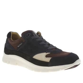 Mens Paul Smith Shoes Black & Brown October Trainers