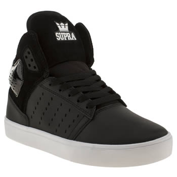 mens supra black & white atom trainers