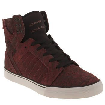 mens supra burgundy skytop trainers