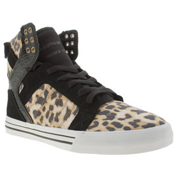 Mens Supra Black & Brown Skytop Trainers